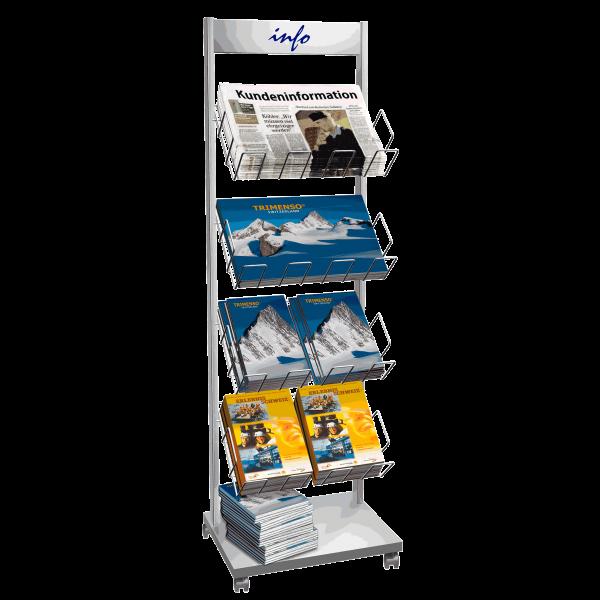 Katalogständer und Zeitungsständer fahrbar mit 4 Katalogfachboden