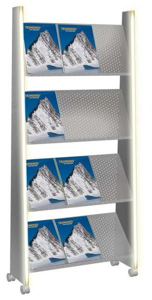 LED beleuchtetes Prpspektregal 12 x A4 Lochblechböden