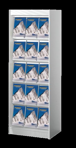 Schmaler Schrank mit 15 Fächern und Frontklappen