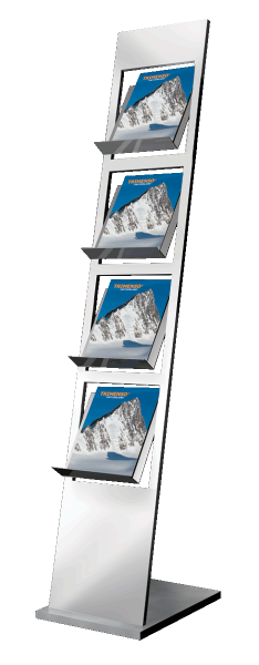Edelstahl Prospektstaender mit 4 Faechern