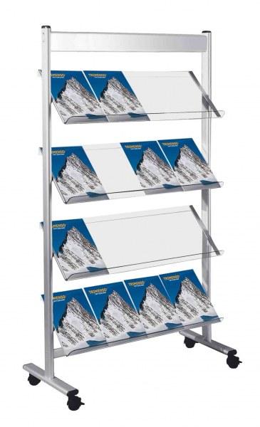 Prospektregal 16 x A4 fahrbar mit arretierbaren Gelenkrollen