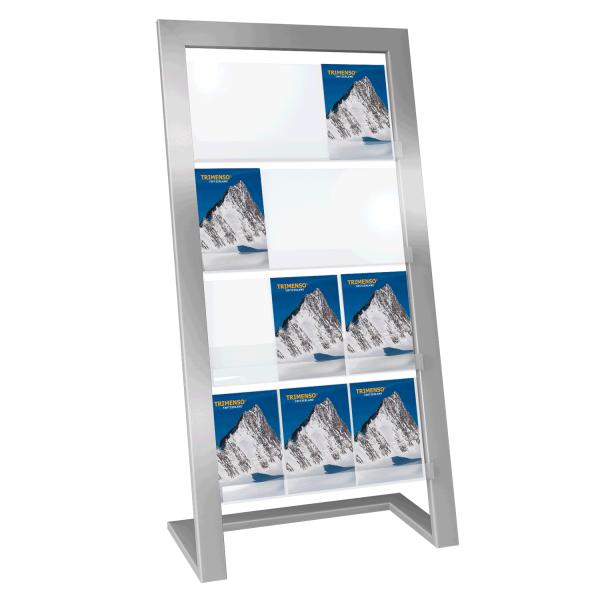 Design Edelstahl- Prospektständer geneigt für 12 A4 Prospektablagen