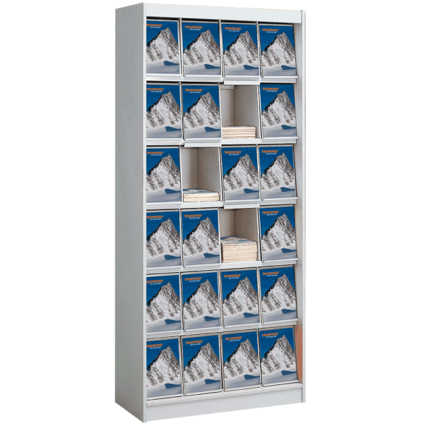 Prospektschrank 24 x DIN A4 mit Titelklappe und Klarsichtfolie